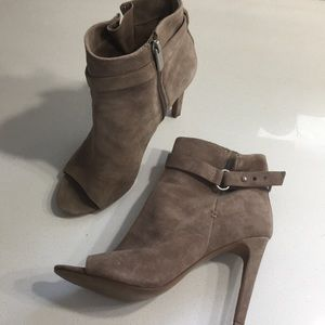 Peep toe tan suede ankle boot size 8